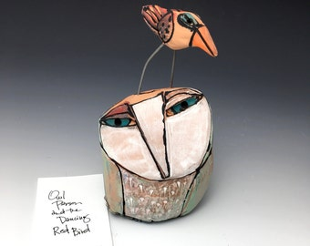 """Owl art, handmade one of a kind ceramic owl art,""""Owl Person and the Dancing Red Bird"""", 5-1/2"""" tall"""