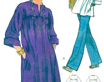 70s Vintage dress top pants loose fitting style slacks summer wear vintage sewing pattern Vogue 9152 UNCUT Sz 14