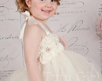Ivory Flower Girl  Tutu Dress, Champagne Dress Flower Girl Tutu - SEWN Ivory or White for Girls