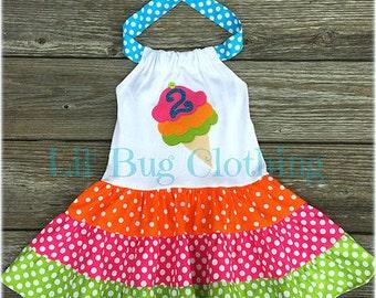 Ice Cream Cone Personalized Dress, Ice Cream Cone Summer Dress, Ice Cream Cone Birthday Party Dress, Ice Cream Social Dress