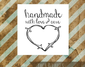Printable PDF Product Labels - Handmade with Love and Care Tag