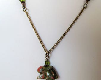Green Jasper Bunny Rabbit and Crystals Antiqued Brass Chain Necklace