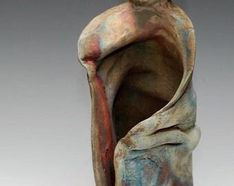 Abstract Buddha Ceramic Figurative Sculpture Large Standing Figure Raku Ceramics