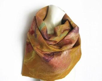 Felt Scarf, Felt Shawl, Wool Silk Scarf, Amber Scarf, Elegant Scarf, Floral Scarf, Cobweb Felt Scarf, Spring Scarf, Wool Scarf, Gift for Her