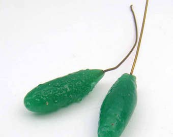 2 pcs glass pickle headpins, vintage Japanese green earring findings, jewelry supplies