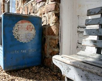 Old Pepsi Cooler Stone Wall Photo — Documentary Photograph of Roadside Americana — Worn Wooden Bench — Route 66 Missouri Photo Art — Retro