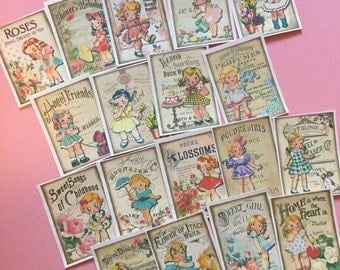 Vintage Girl Stickers - Set of 18 - Handmade Stickers, Vintage Style, Cute Planner Stickers, Flower Girl Stickers, Cute Girl Stickers