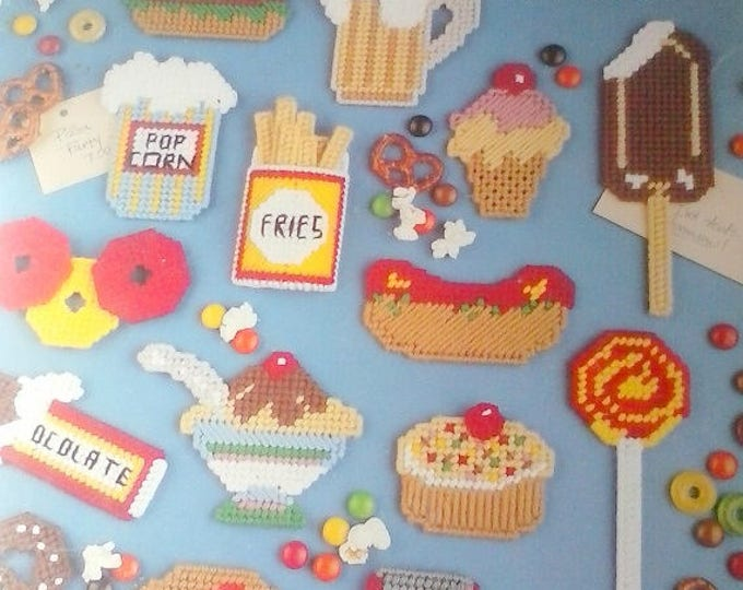 Junk Food Magnets in Plastic Canvas booklet, Leisure Arts 1277
