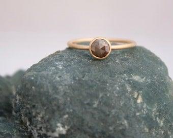 Rose cut diamond ring, brown rose cut diamond and 14k solid gold engagement ring, wedding ring,  Rachel Wilder Handmade Jewelery