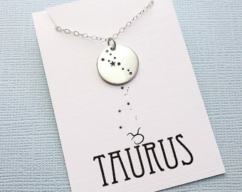 Taurus Jewelry | Taurus Necklace, Zodiac Jewelry, Zodiac Necklace, Constellation Necklace, Astrology Jewelry, Zodiac Sign Necklace, Zodiac