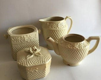 Shabby Chic As found Cream Tea Set and Pitcher Vase Planters Objects for Display Neutral Decayed Naturally Aged Floral Relief Textured
