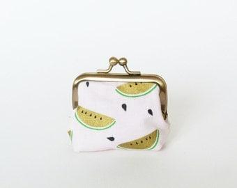 Coin purse, watermelon fabric, cotton pouch