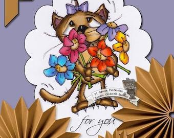 1383 Feline La Fleur Digi Stamp