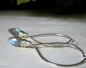 Labradorite Hoop Earrings, Labradorite Briolette Earrings, Sterling Silver, Wirewrapped Fiery Gemstone, Labradorite Dewdrop Dangle