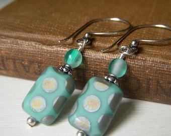 Seafoam Green Earrings, Peacock Glass Earrings, Sterling Silver Glass Dangle Earrings, Czech Glass Rectangle, Polka Dot Spotted Earrings
