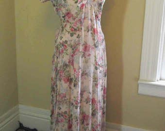 Pink Roses 90s Romance print dress 30s style sheer dress Vintage Maxi print dress Vintage Wedding Bridesmaid 90s vintage Pink print dress SM