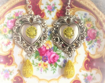 Vintage Yellow Roses Earrings  Shabby Chic Yellow Friendship  Roses  Earrings Romantic Jewelry Bohemian Bridal Jewelry By Red Gypsy Jewelry