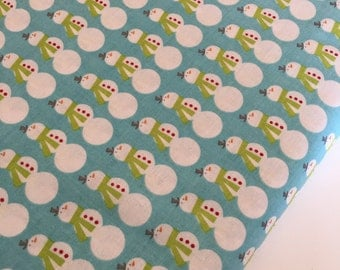 SALE fabric, Snowman Fabric, Christmas Fabric, Home for the Holidays by Riley Blake Fabrics- Mini Snowmen in Blue- Choose the Cut