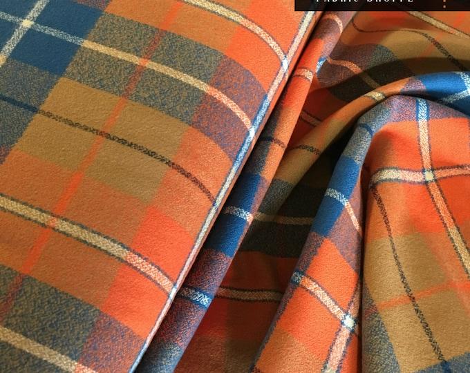 Adventure Plaid, Mammoth Plaid Flannel, Orange Plaid, Blue Flannel, Woodland Blanket fabric, Robert Kaufman, Flannel in Adventure 424