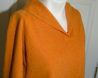 Vintage 1950's Orange Lambswool Pin Up Pullover Sweater