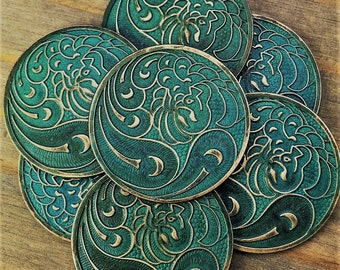 Peacock - 1 pc - 33mm - Aged Verdigris Patina Brass Peacock Coin Pendant - Teal Bird Disc - Patina Queen