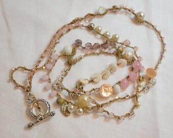 Beaded Crochet Wrap Bracelet or Necklace - Bohemian style - PINK