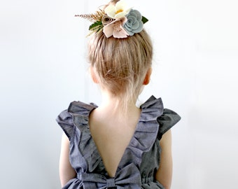 Charcoal Grey Dress, Flower Girl and Toddler, Birthday, Special Occasion