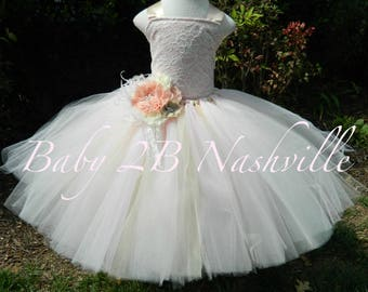 Vintage Blush Dress Ivory Dress Sequin Dress Lace Dress Flower Girl Dress Tulle Dress Baby Dress Toddler Tutu Dress Girl Dress Wedding Dress