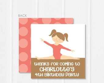 Gymnastics Party Favor Tags or Stickers . Gymnastics Birthday Party for Favors, Treat Bags and Envelope Seals | Swanky Press