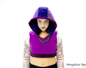 Reversible Hood, Gypsy Clothes, Hippie Hood, Festival clothes, Purple Hood with Chain Twist by Intergalactic Apparel