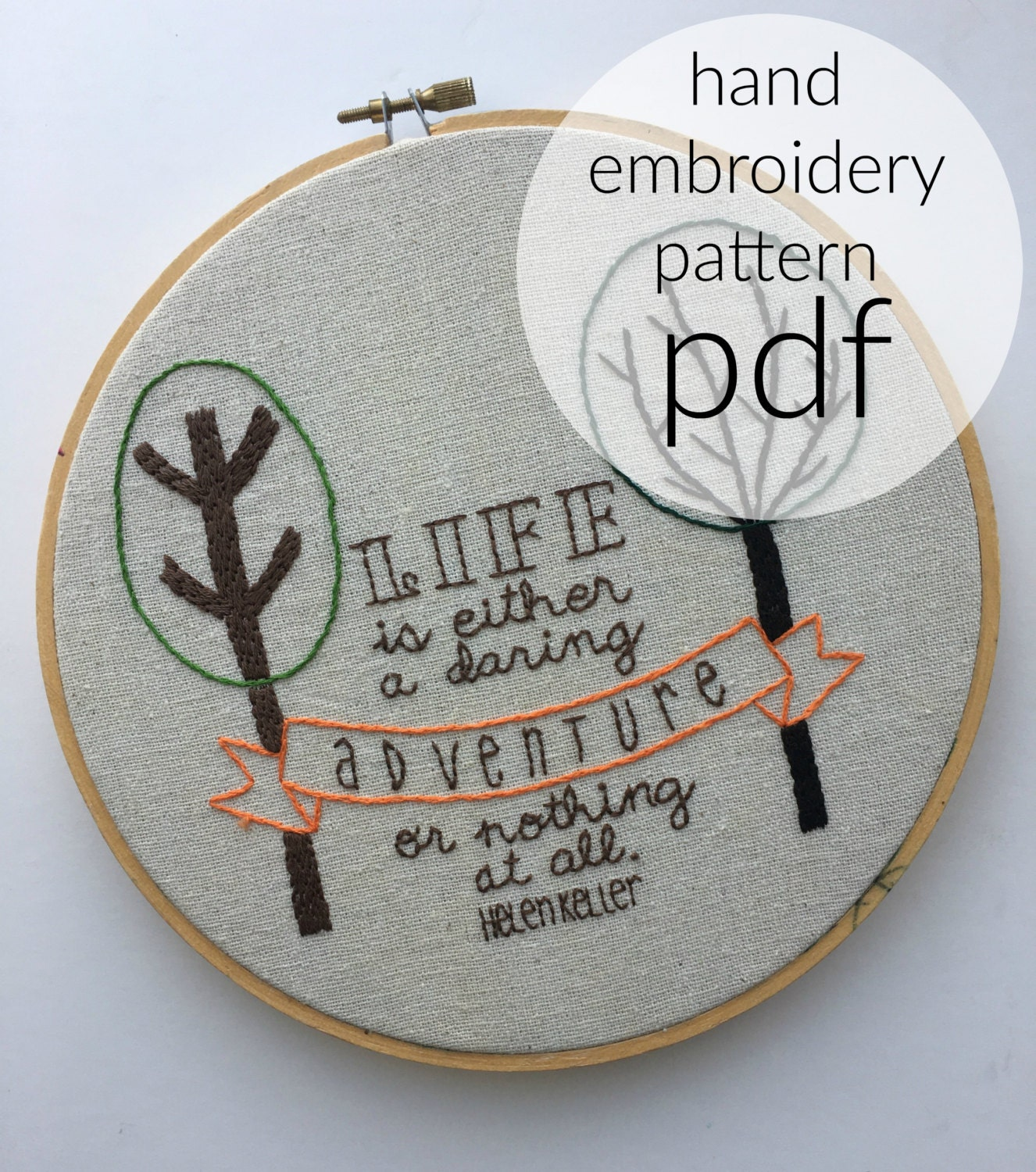 Helen keller quote hand embroidery pattern instant