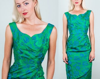 Jane Andre Vintage 50s EMERALD Green Satin Bombshell Hourglass Party Dress! XS/S