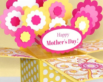 Mother's Day Pop Up Card, Mothers Day Card in a Box, Special Mothers Day Card, Unique Mothers Day Card, Pink Yellow 3D Floral Bouquet