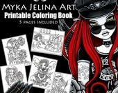 SALE - Fairy Coloring Book - Set #2 - Printable Coloring Book - Myka Jelina Art - Fantasy Coloring Pages - Digital Download - 5 Images