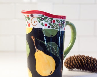 Christmas Pitcher Ceramic Pitcher Water Pitcher Parisian Pear Pitcher Colorful Beverage Serving Hostess Gift Wedding Gift for Couple PP
