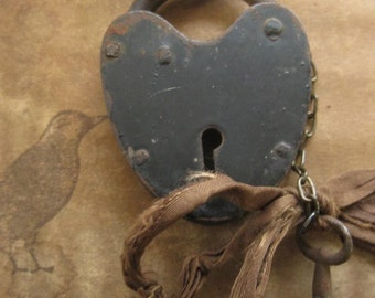 padlocked heart ~ antique lock key Haskell-era pearl rosary spring wrap necklace