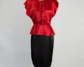 Vintage 1980s Bombshell Peplum Wiggle Dress Red and Black by All That Jazz M