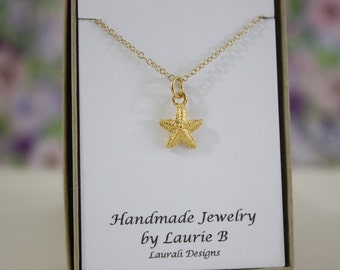 Starfish Charm Necklace, Friendship Gift, Gold, Bestie Gift, Gold Starfish Charm, Thank you card, Ocean Life Charm, Shell Charm