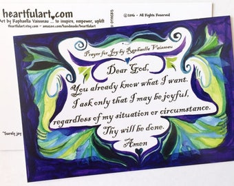 10 PRAYER 4 JOY POSTCARDS Original Poetry Inspirational 12 step Support Family Friendship Recovery Card Heartful Art by Raphaella Vaisseau
