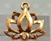 Lotus Flower Charm, Antique Gold, 2 Pieces, AG245
