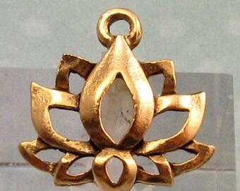 Lotus Flower Charm, Antique Gold, 2 Pieces, AG245
