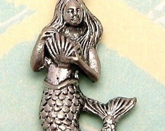 Mermaid Charm With Shell Antique Pewter 2 Pc. AP34