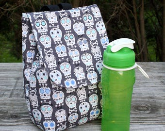 Insulated Lunch Bag Lunch Tote Paisley Skulls Ready to Ship