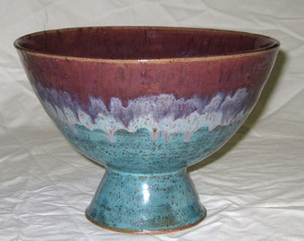 Pedestal Bowl for fruit or a huge amount of ice cream - Antique Jade and Plum - Stoneware- Free Shipping