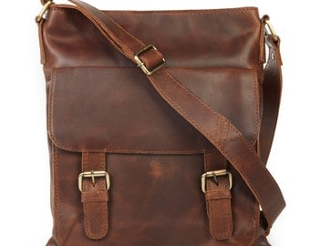 Brown Leather Cross Body Bag, Messenger bag