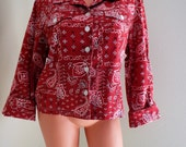 Vintage 1990s COLDWATER CREEK Red Bandana Cropped Cowgirl SHIRT Western Jacket Cowboy Paisley Rodeo Queen Westworld Hipster Boho Christmas L