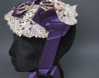 Antique Fanchon Bonnet Victorian Civil War era Belgian lace silk ribbon 1860s
