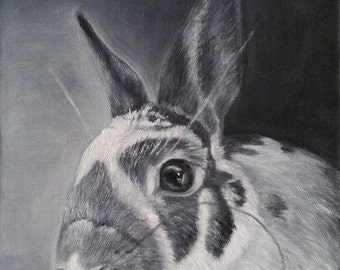 "Oil Painting Bunny Rabbit Pet Portrait Grey Scale Painting 8"" x 10"" READY to SHIP"