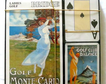 Vintage Bridge Cards Set - Vintage Golf Travel Theme - Vintage Playing Cards - Tally - Game Cards - Fine Art Images