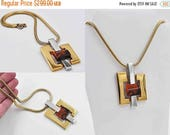 ON SALE Vintage Lanvin Paris Modernist Pendant Necklace, Gold, Silver, Red & Black Lucite, Abstract, Geometric, 3D, Mod, Fab 70's ! #b954